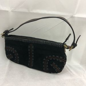 Suede,Beaded Antonio Melani Leather Strap Handbag